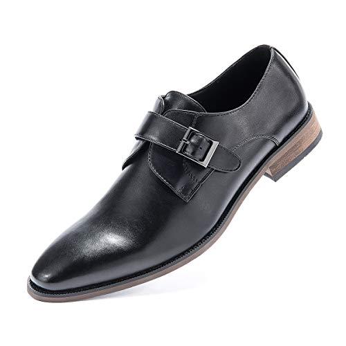 Men's Monk Strap Dress Shoes Prince Single Buckle Slip On Stylish Plain-Toe Dress Loafer Black 10 D (M) US ()