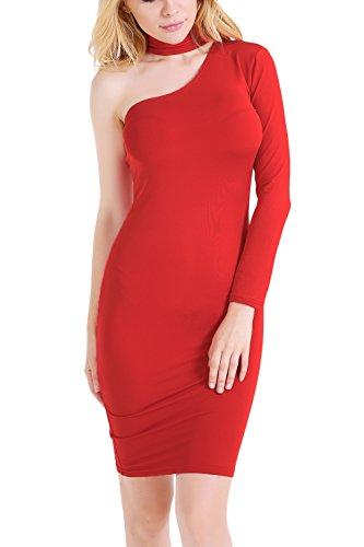 Elegant manga larga Bodycon Vestido de noche de la mujer Red