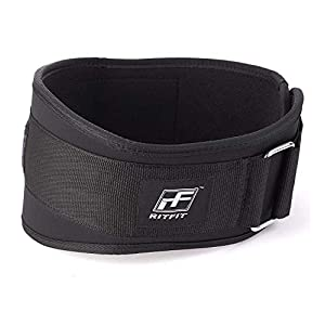 RitFit Weight Lifting Belt – Great for Squats, Clean, Lunges, Deadlift, Thrusters – Men and Women – 6 Inch – Multiple Color Choices – Firm & Comfortable Lumbar Support