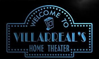 ph1672-b Villarreal's Home Theater Popcorn Bar Beer Neon Light Sign