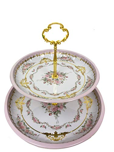 - Present Avenue floral 2 tier cake and pastry stand server (Pink Lavender)