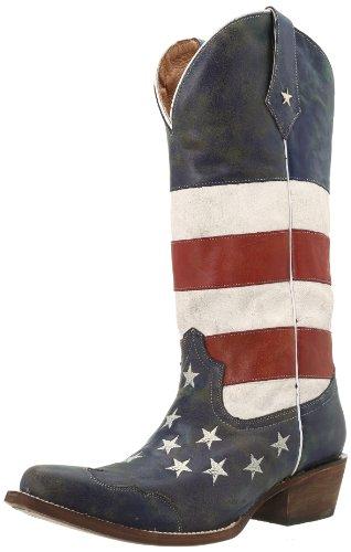Roper Women's American Flag Snip Toe, Red/White/Blue, 10 B-Medium