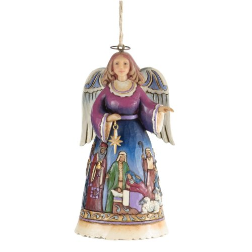 Jim Shore Heartwood Creek Angel with Wrap Around Nativity Scene Stone Resin Hanging Ornament, 4.5