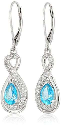 Platinum Plated Sterling Silver Swarovski Paraiba Blue and White Topaz Infinity Teardrop Lever Back Drop Earrings -