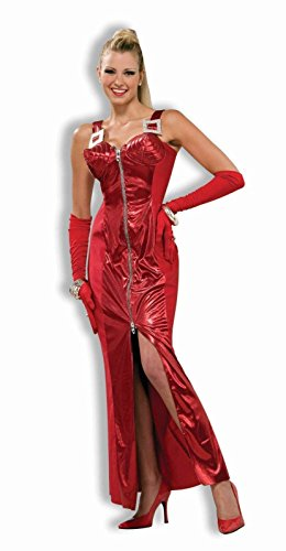 Madonna Fancy Dress (Crimson Seduction Red Cone Dress 80s Madonna Costume Adult Womens Ladies XS/S)