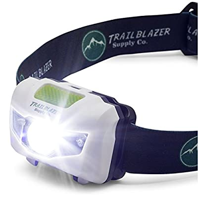 Super Bright LED Headlamp Flashlight (300 Lumens), Lightweight for Running, Camping, & Hunting - White, Red, Strobe Lights - Waterproof - With Batteries