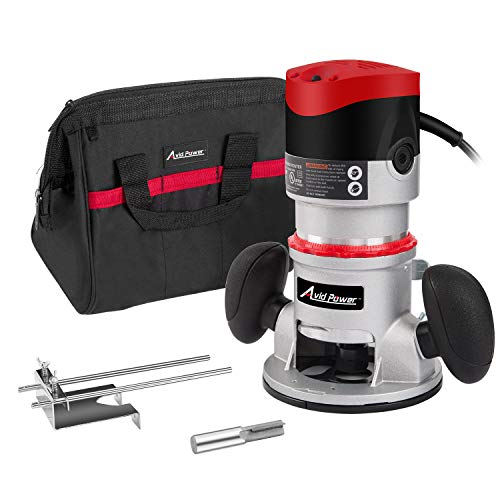 11-Amp 2 HP Fixed-Base Wood Router with Carrying Bag and Edge Guide, Masterworks AERM144 ()