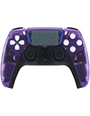 eXtremeRate Clear Atomic Purple Touchpad Front Housing Shell for PS5 Controller, DIY Replacement Shell for PS5 Controller, Custom Touch Pad Cover Faceplate for Playstation 5 Controller
