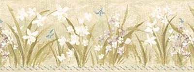 Brewster 499-3034 Butterfly Meadow Border Wallpaper, Olive