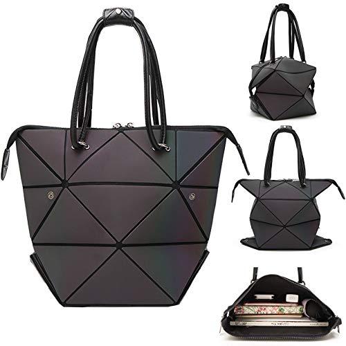 - Woman Handbag Luminous Handbag Lattice Design Geometric Bag Top Handle Satchel Purse  Large Shoulder Bags Shopping Handbags for Women-Changeable Shape
