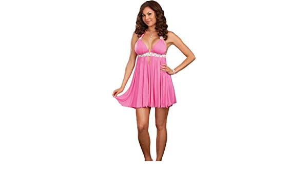 20e652bf969 Amazon.com  Plus Size Hot Pink Clubwear Dress with Matching Thong- 3X 4X   Adult Exotic Dresses  Clothing