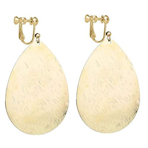 Fishhook Teardrop Clip on Earrings with Brushed Finished Dangle Large Drop Light Weight Women Gold-tone