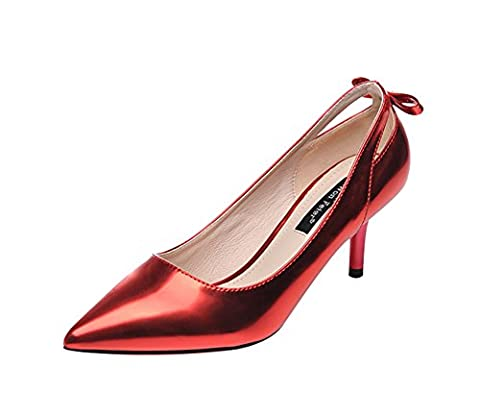 Freerun Women's Slip-ons Pointed Toe Low Cut Stiletto Pumps with Bowknot (6 B(M)US,red) (Zx Flux Italia)