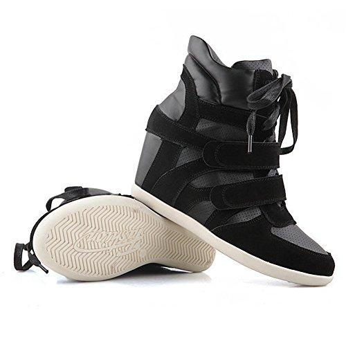 Shenn Mujer Gancho&Lazo PU Cuero Moda Cuña Zapatillas 8530 Negro