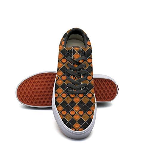 SERXO Halloween Pumpkin Light Checkerboard pro Skate Shoes Women Walking Sneakers Wide -