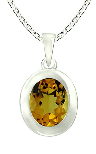 RB Gems Sterling Silver 925 Pendant Necklace Genuine GEMS Oval 10x8 mm Bezel-Set Rhodium-Plated Finish (Citrine) (Citrine Bezel Necklace)