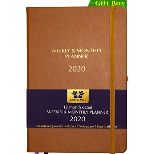 2020 Weekly Monthly Planner + Stickers + Gift Box Set Kit Case, 12 month, A5, Hardcover, Vegan Eco Leather, Thick Paper, Pocket, Pen Holder, Academic Productivity Cute Goals Organizer Notebook (brown)