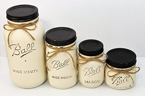 - Set of 4 Ivory Painted Farmhouse Mason Jar Canisters