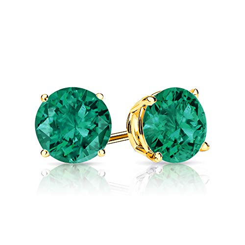 - 9mm Created Emerald Stud Earrings in 14k Yellow Gold (5.0 CT.TW.)