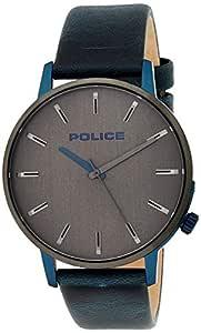 Police Men's Quartz Watch, Analog Display and Leather Strap P 15923JSBLU-13