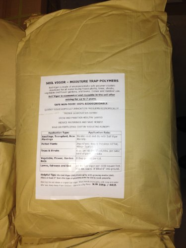 44 Lbs Bag of Soil Vigor (Tm) Super Absorbent Polymer, Moisture Trap for All Plants, Trees, Shrubs, Vegetable , Flower Gardens, and Lawns of All Sizes. by Soil Vigor