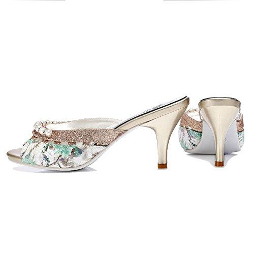 uk6 Femenina Lixiong 2 Tamaño Verano De cn39 Exterior Verde zapatos Colores Fino Eu39 Verde Rhinestone Zapatillas Moda Zapato 245 Tacón color rrvxTnf