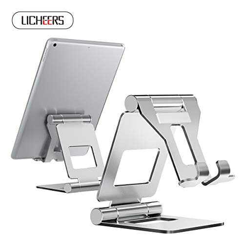 Tablet Stand Adjustable, licheers Adjustable Cell Phone Stand : Desktop Stand Holder Dock Compatible with Tablets Such as New iPad Pro,iPad Air Mini 2 3 4 Pro, Phone XS Max XR X 6 7 8 Plus (4-13 inch)
