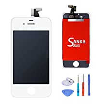 SANKA LCD Display Touch Screen Digitizer Frame Assembly Full Set Screen Replacement for iPhone 4S-White
