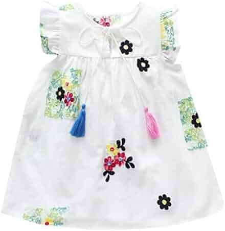 eeaa946dc5 Kehen- Infant Baby Toddler Girls Summer Dress Sleeveless Flower Embroidery Swing  Dresses