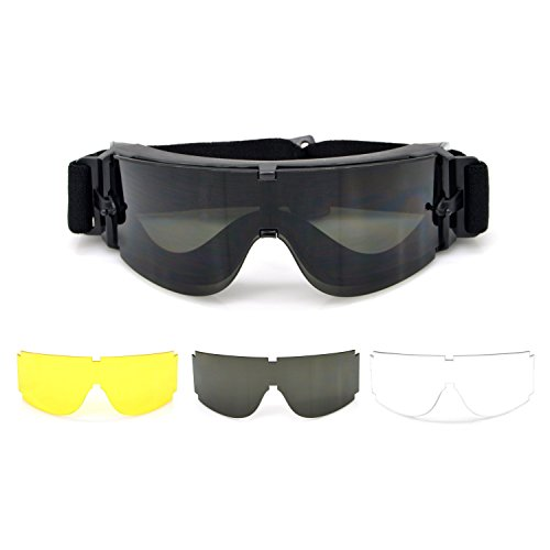 ElemartTM-Tactical-Safety-Airsoft-Black-Goggles-Glasses-w-3-Interchangeable-Multi-Lens-Smoked-Clear-Yellow