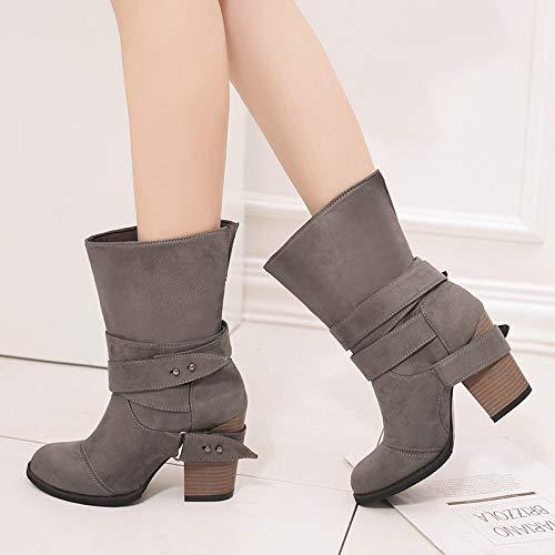 Shoe 34 Altos Tamaño Otoño Y De Con Gran Estados Invierno Para E Botas 43 Mujer En Tacones Gris Phy Unidos Europa dPYAHd
