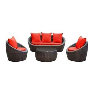 Wicker Outdoor Rattan 4 Piece Sofa Set Brown Red