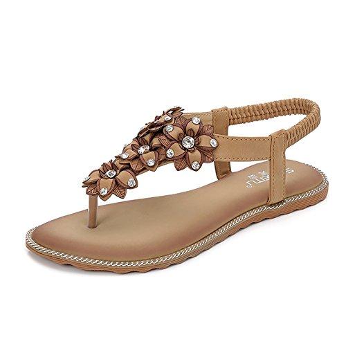 Meeshine Summer T-Strap Flip Flops Flower Beaded Elastic Slip On Flat Sandals (10 B(M) US, Apricot 05) ()