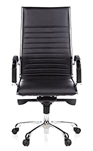 hjh OFFICE 660500 silla de oficina PARMA 20 piel negro, cromado, cuero real, respaldo alto, elegante, estable, fácil de limpiar, ergonómico, con apoyabrazos, alta calidad, inclinable, silla alta gama