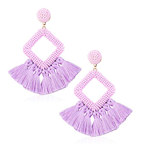 Tassel Bead Statement Earrings for Women Girls Handmade Bohemian Beaded Hoop square Thread Fringe Drop Summer Beach Studs Ear Jewelry Accessory Present for Sister with Gushion Gift Box GUE137 Purple