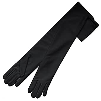 "ZaZa Bridal 19.5"" Long 4-Way Stretch Matte Finish Satin Dress Gloves-Black"