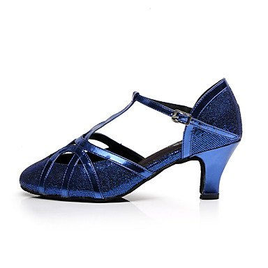 Woherren Latin funkelnden Glitter Glitter Glitter Sandale Praxis Anfänger professionelle Innen- Leistung Schnalle Ferse Schwarz Blau 2  - 2 3 4  2 1 2  (6 3 cm) Flare Ferse Blau uns 4-4.5 EU 34  UK 2-2.5 CN33 b91e62