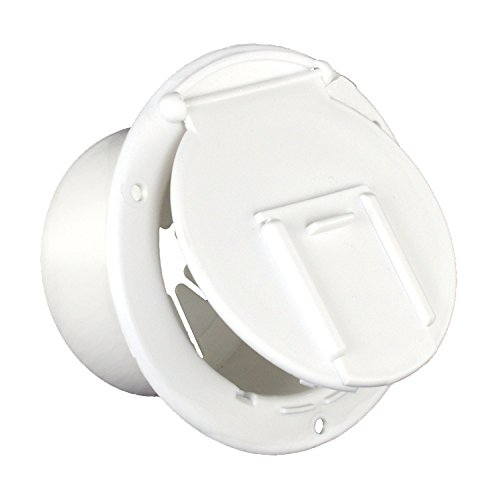 Electric Cable Hatch - JR Products 370-2-A Polar White Round Electric Cable Hatch with Back