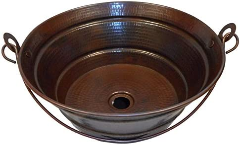 SimplyCopper- 15 Rustic Round Copper BUCKET Vessel Bath Sink