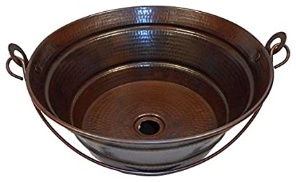 SimplyCopper 15quot Rustic Round Copper BUCKET Vessel Bath Sink