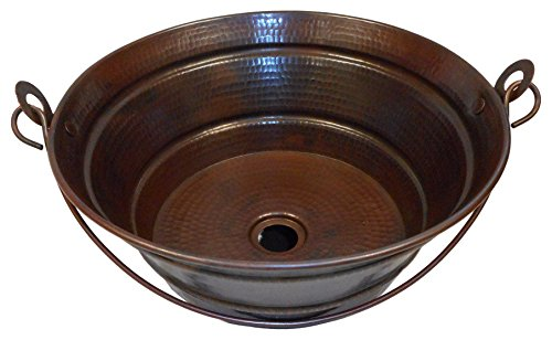 SimplyCopper- 15'' Rustic Round Copper BUCKET Vessel Bath Sink by SimplyCopper