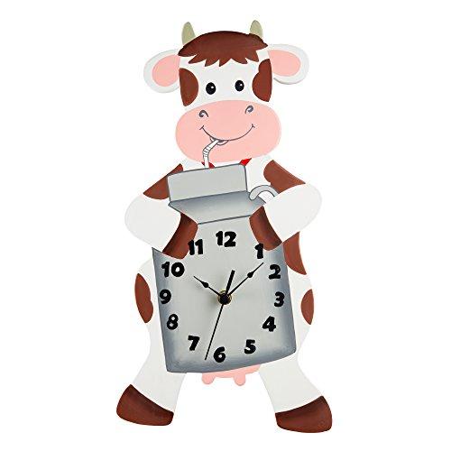 Fantasy Fields Happy Farm Kids Wall Clock, White/Gray/Cow