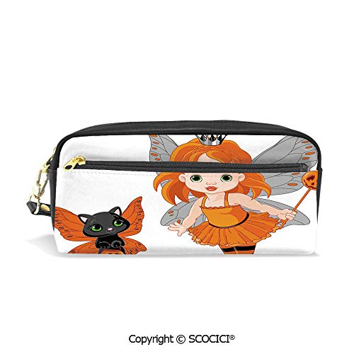 Fasion Pencil Case Big Capacity Pencil Bag Makeup Pen Pouch Halloween Baby Fairy and Her Cat in Costumes Butterflies Girls Kids Room Decor Decorative Durable Students Stationery Pen Holder for