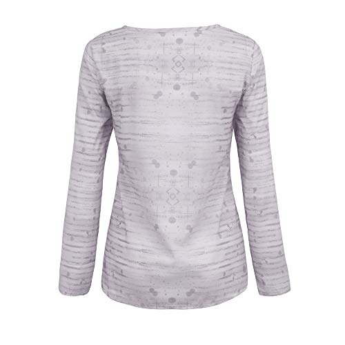 Shirt Print XOWRTE Tops Loose Tunic Blouse Sleeve White T Floral Long Women's ZEq18F