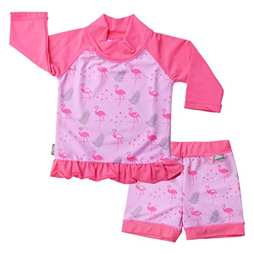 JAN & JUL Toddler Girls 50+ UPF Swim-wear Set with Sleeved Top (UV Shirt Short Set L: 18-36m, Flamingo) ()