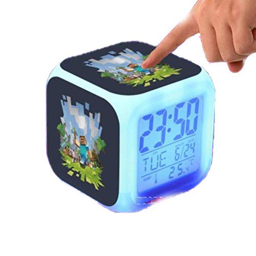 (Touch Light Alarm Clock With LED Cartoon Anna Elsa Action & Toy Figures Star Wars Spiderman Batman Cars2 Toys)
