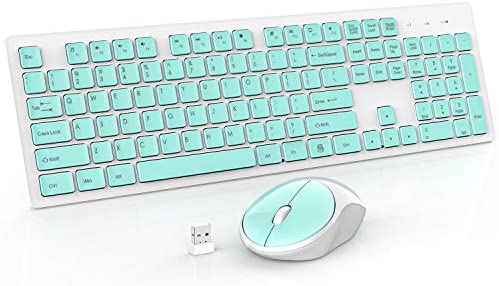 RATEL Wireless Keyboard Mouse Combo, 2.4GHz Slim Full-Sized Silent Wireless Keyboard and Mouse Combo with USB Nano Receiver for Laptop, PC (Green)