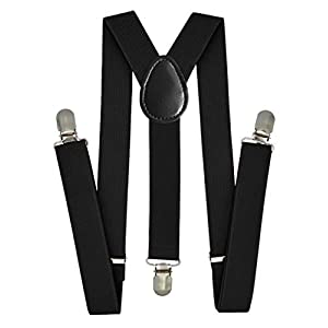 Trilece Kids Boys Suspenders – Adjustable Elastic Y Back and Strong Clips – Various Solid Colors