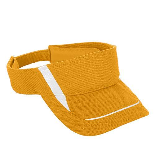 (Augusta Sportswear Adult Adjustable Wicking MESH Edge Visor OS Gold/White)