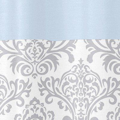 Sweet Jojo Designs Blue, Gray and White Damask Print Avery Unisex Kids Bathroom Fabric Bath Shower Curtain